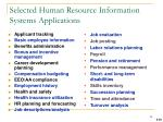 selected human resource information systems applications