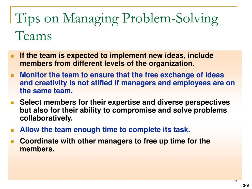 Tips on Managing Problem-Solving Teams