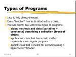 types of programs