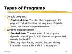 types of programs56