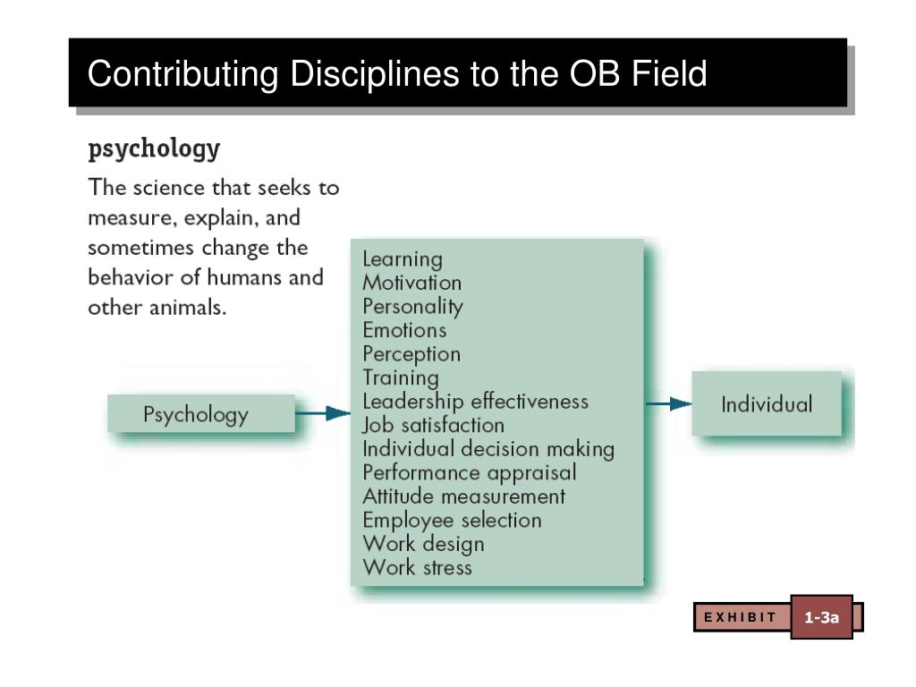 contributions made by major behavioural science disciplines to organisational behaviour