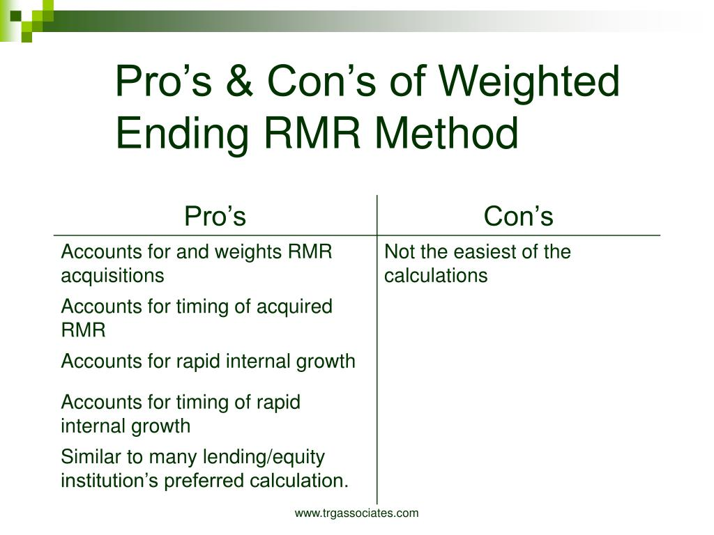 Pro's & Con's of Weighted Ending RMR Method