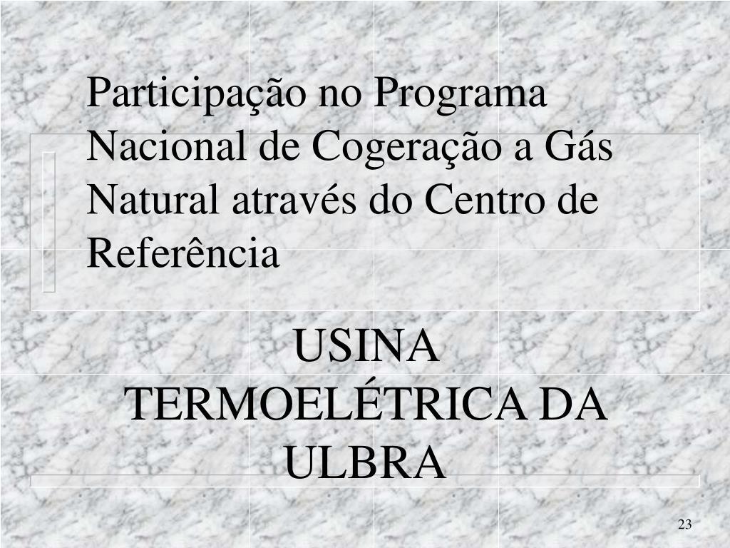 Participação no Programa Nacional de Cogeração a Gás Natural através do Centro de Referência