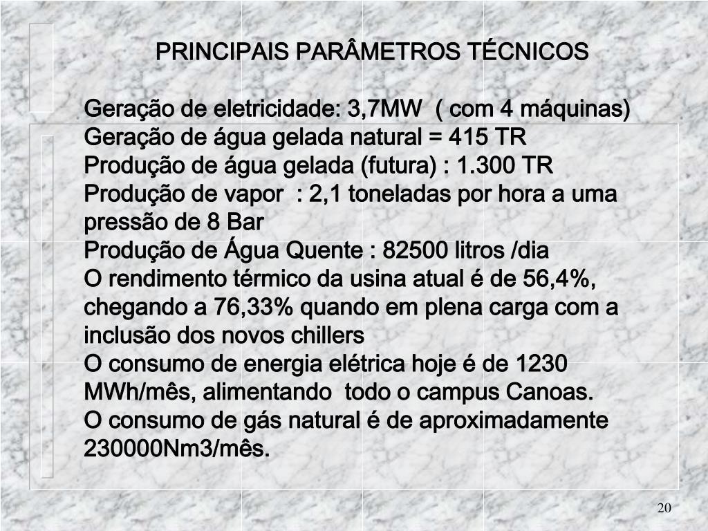 PRINCIPAIS PARÂMETROS TÉCNICOS