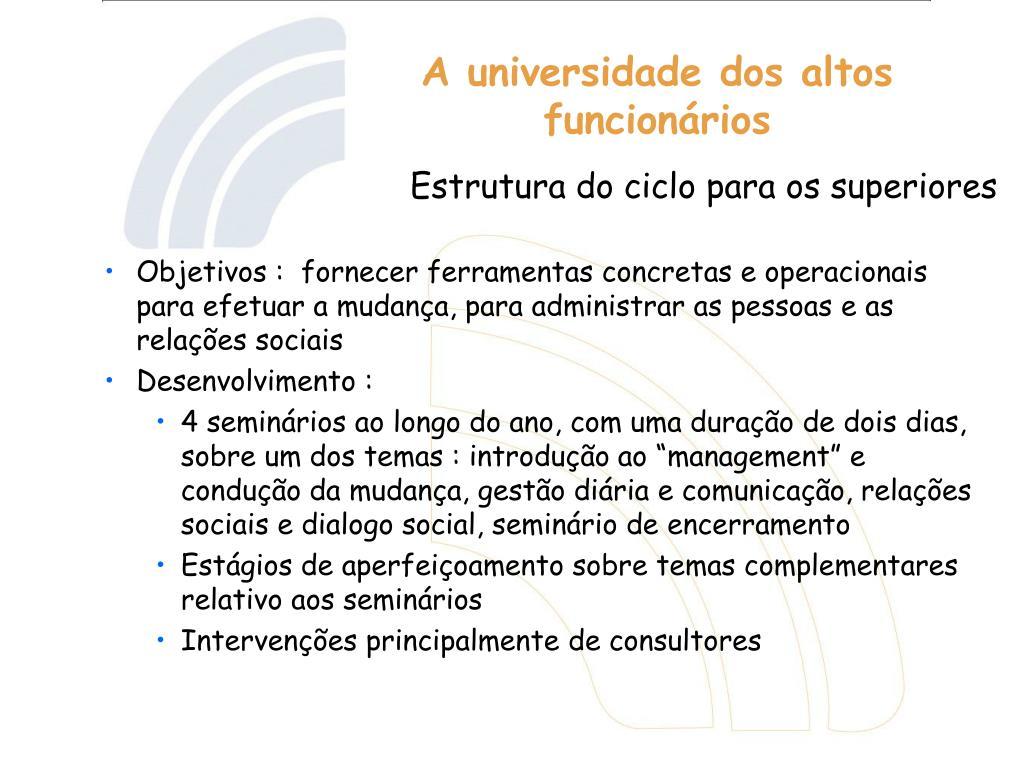 Objetivos :  fornecer ferramentas concretas e operacionais para efetuar a mudança, para administrar as pessoas e as relações sociais