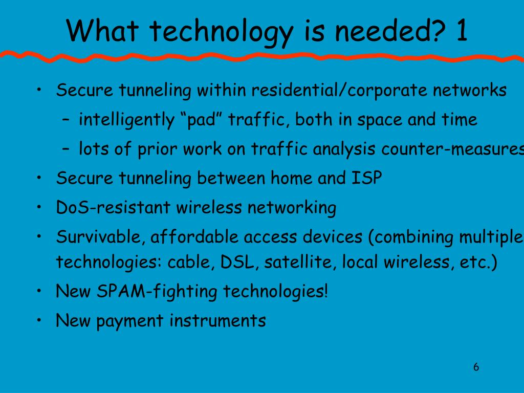 What technology is needed? 1