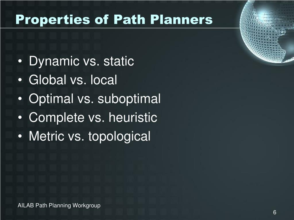 Properties of Path Planners
