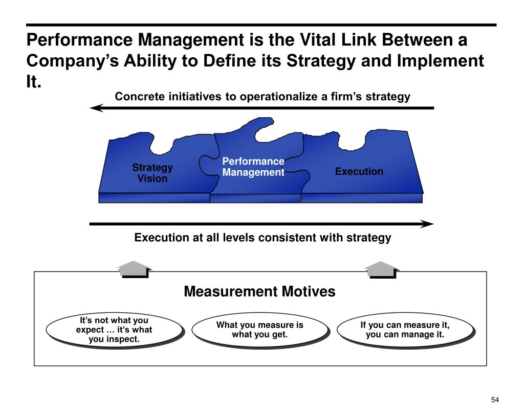 Performance Management is the Vital Link Between a Company's Ability to Define its Strategy and Implement It.