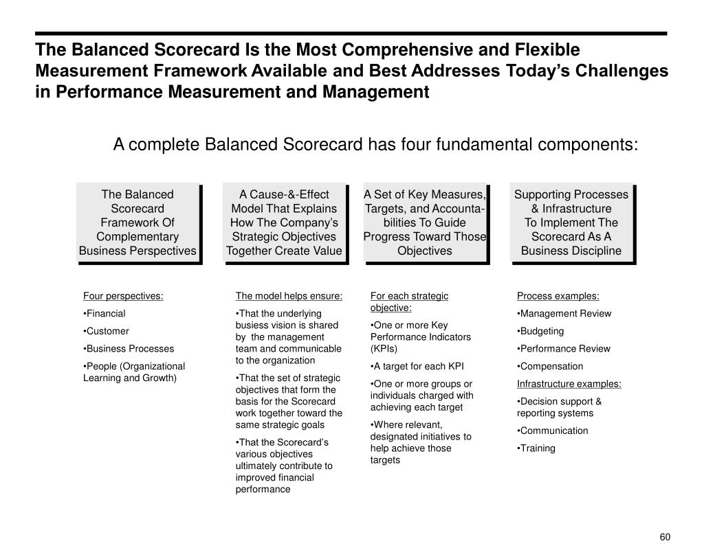 The Balanced Scorecard Is the Most Comprehensive and Flexible Measurement Framework Available and Best Addresses Today's Challenges in Performance Measurement and Management