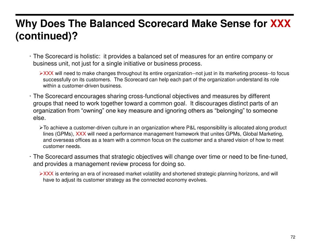 Why Does The Balanced Scorecard Make Sense for