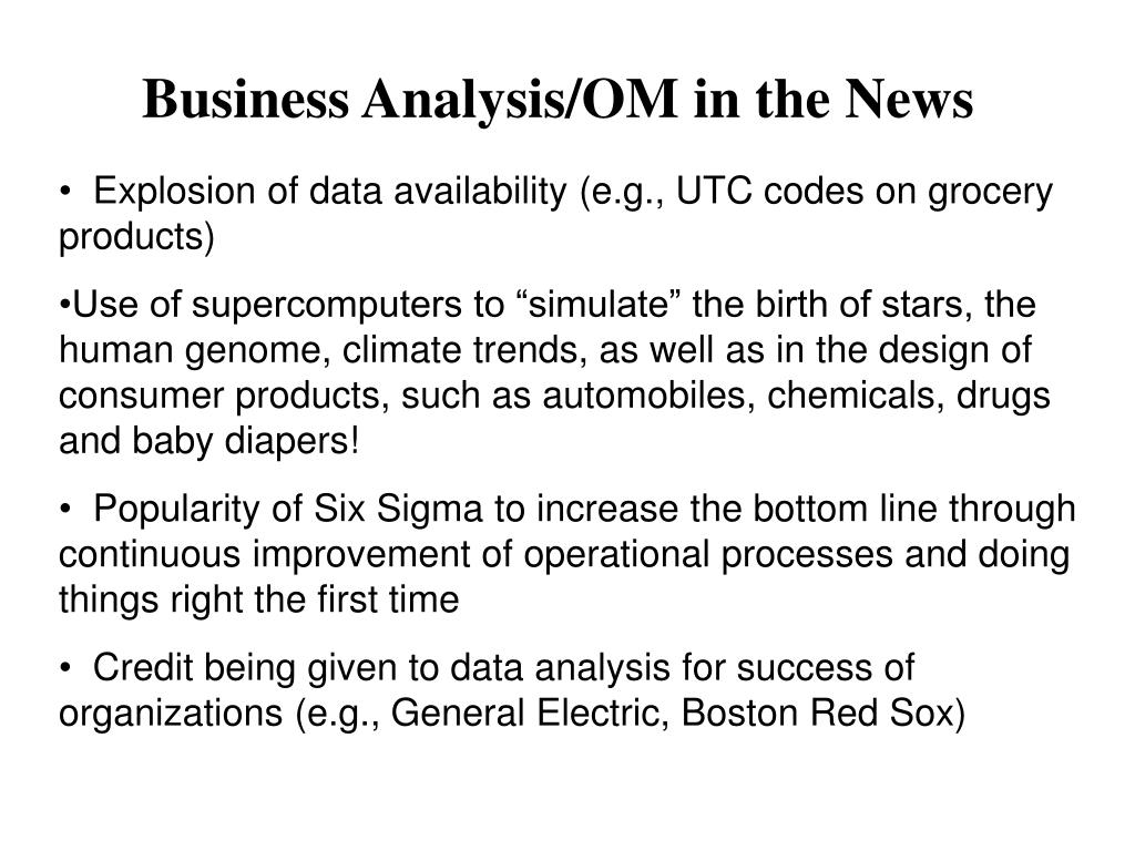 Business Analysis/OM in the News