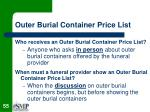 outer burial container price list