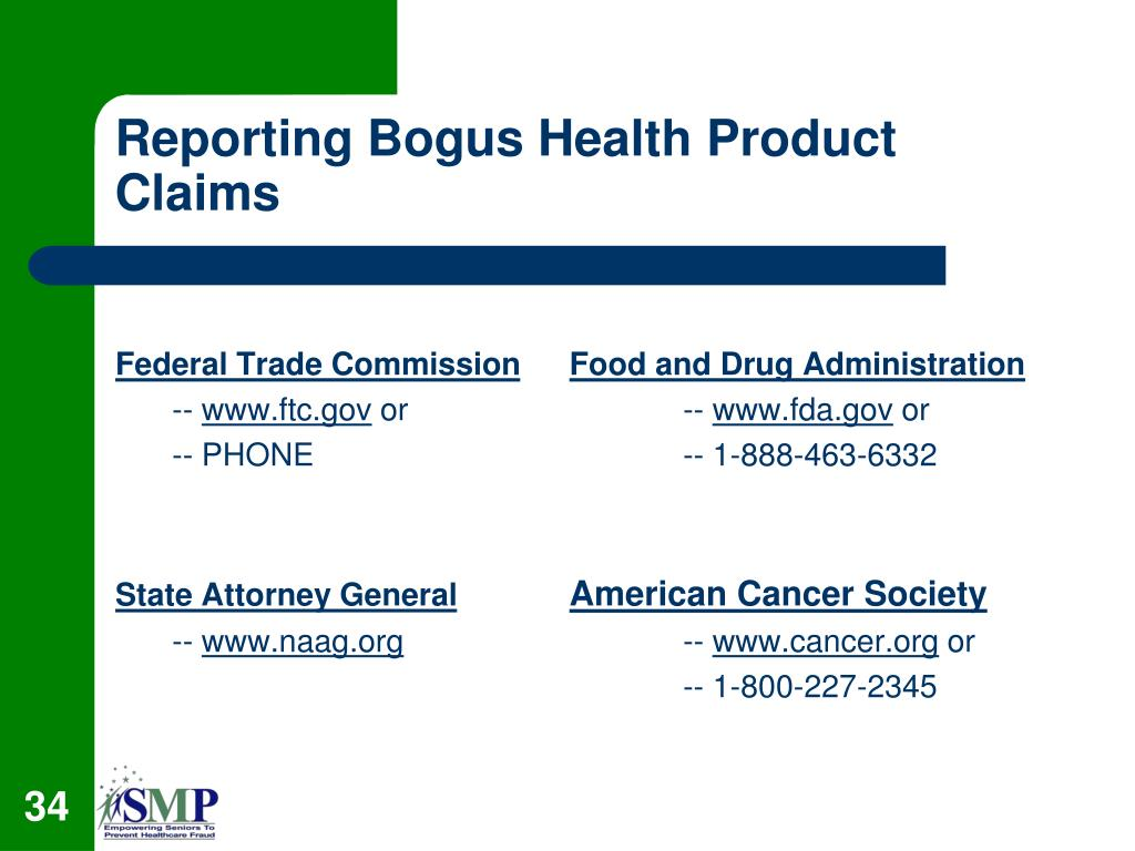 Reporting Bogus Health Product Claims