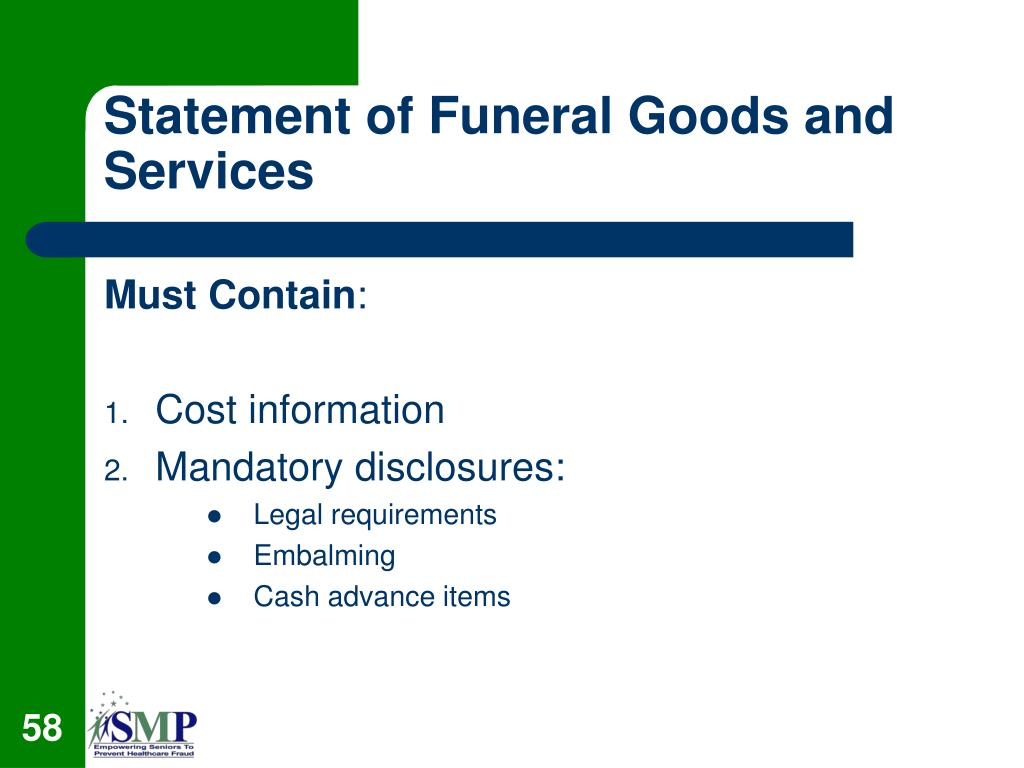 Statement of Funeral Goods and Services
