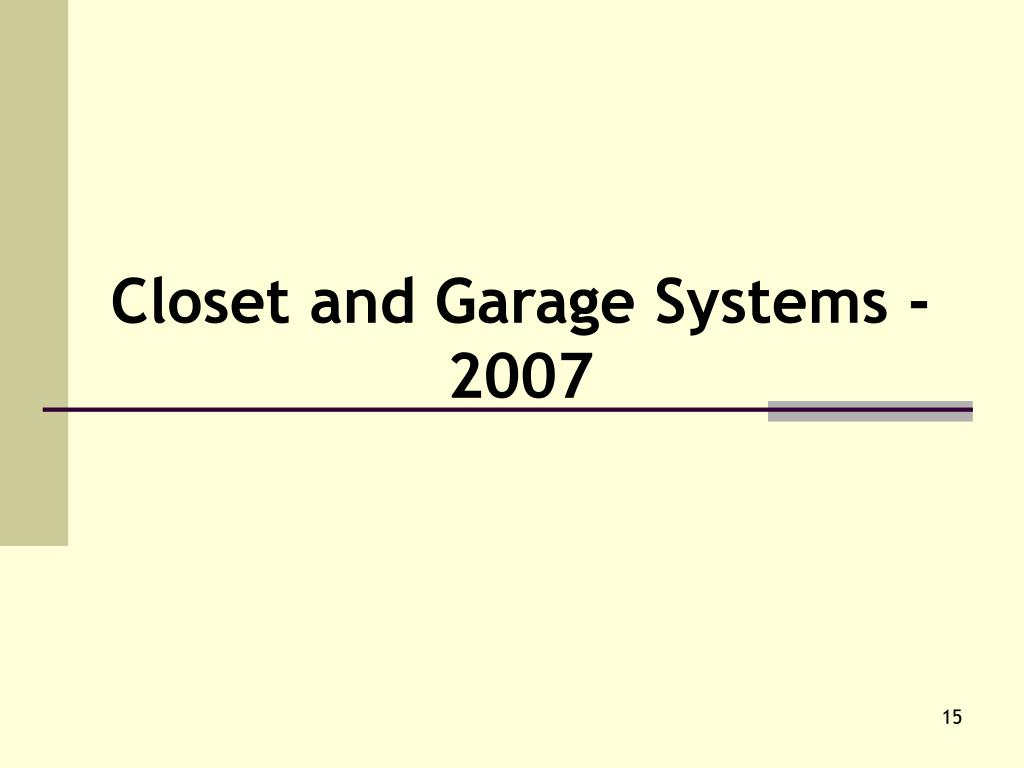 Closet and Garage Systems - 2007
