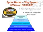 sprint nextel why spend 750m on nascar