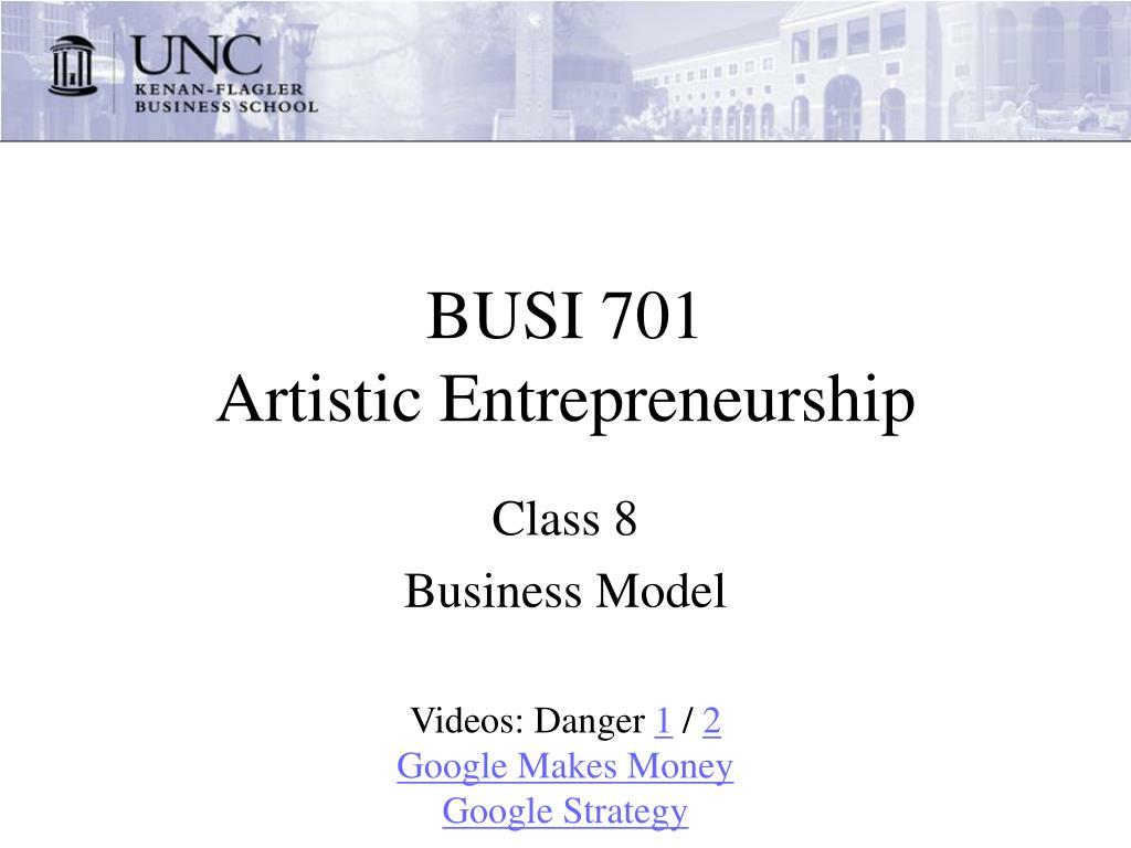 busi 701 artistic entrepreneurship l.