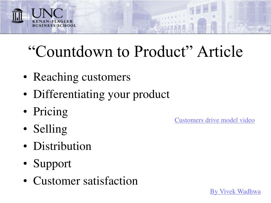 """""""Countdown to Product"""" Article"""