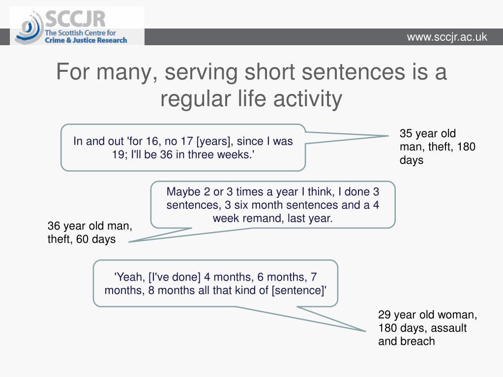 For many, serving short sentences is a regular life activity