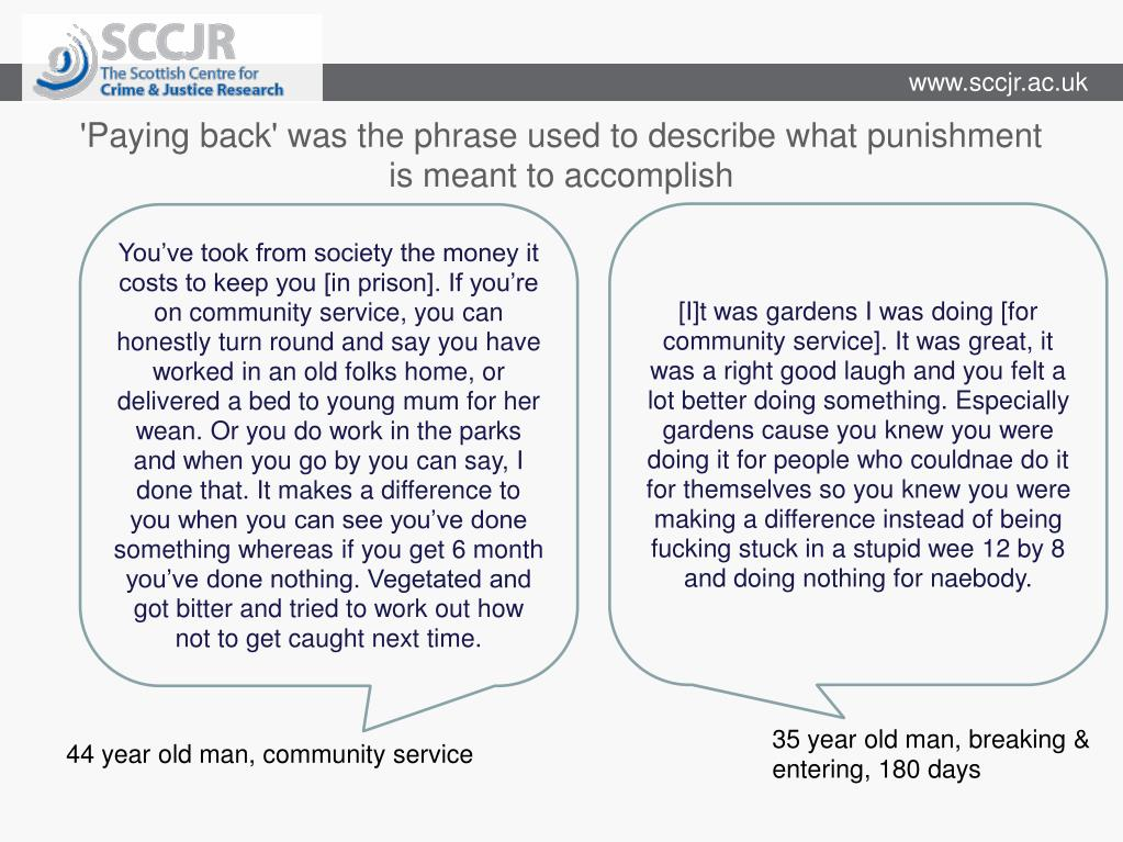 'Paying back' was the phrase used to describe what punishment is meant to accomplish