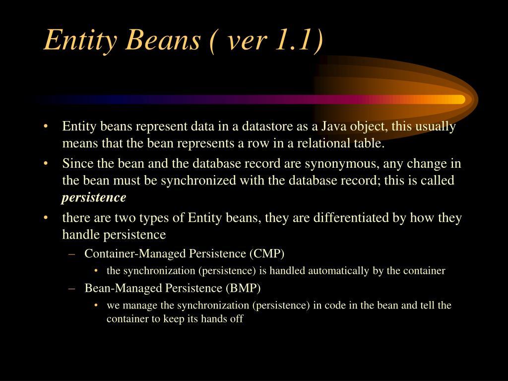 Entity Beans ( ver 1.1)