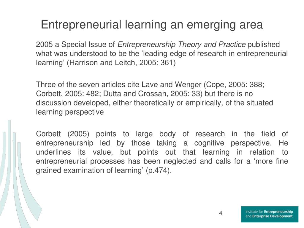 Entrepreneurial learning an emerging area
