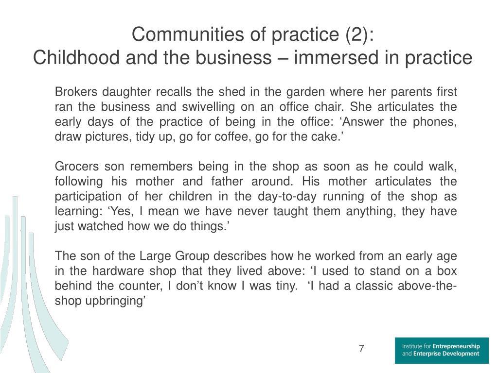 Communities of practice (2):