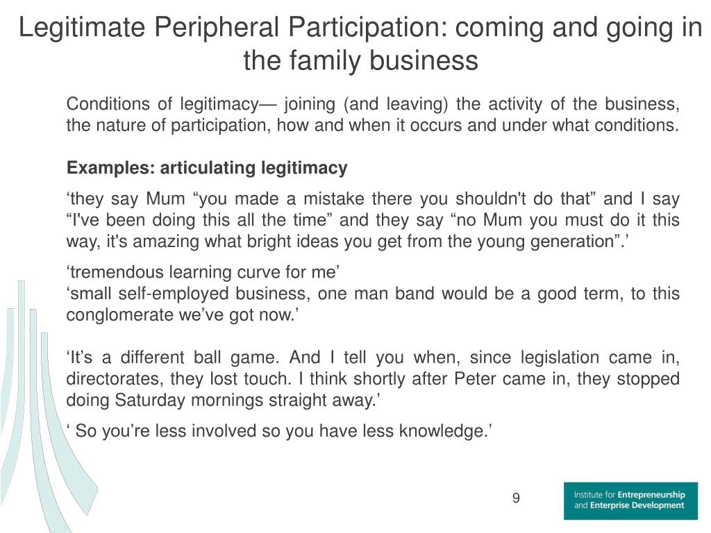 Legitimate Peripheral Participation: coming and going in the family business