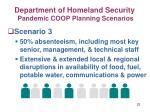 department of homeland security pandemic coop planning scenarios22