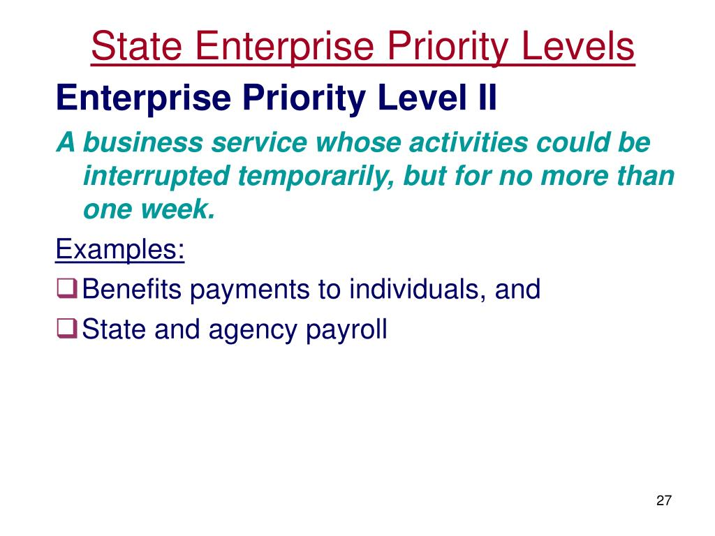 State Enterprise Priority Levels