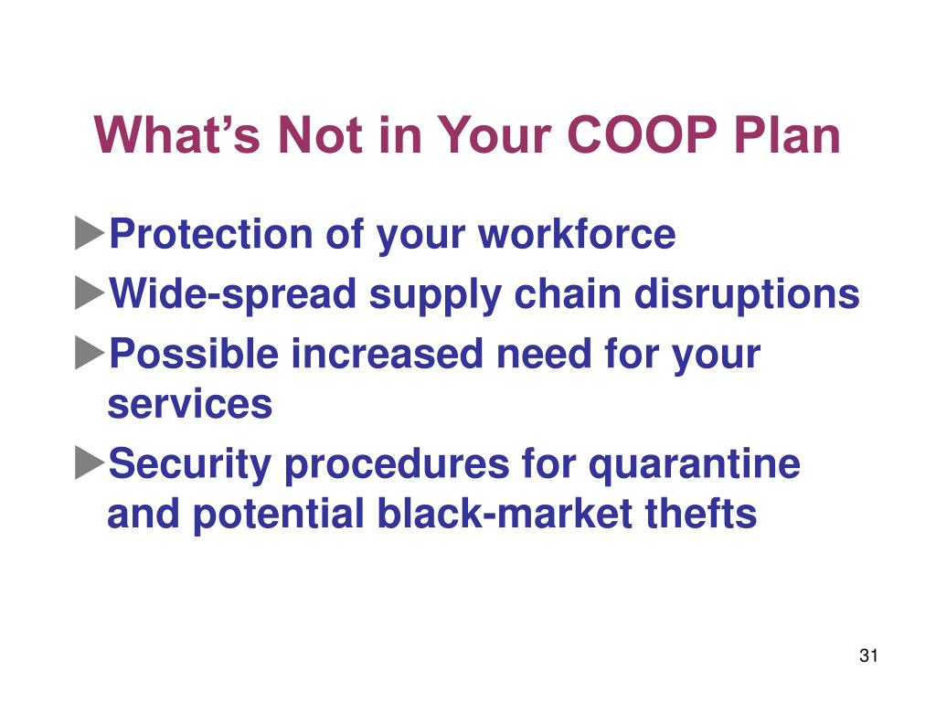 What's Not in Your COOP Plan