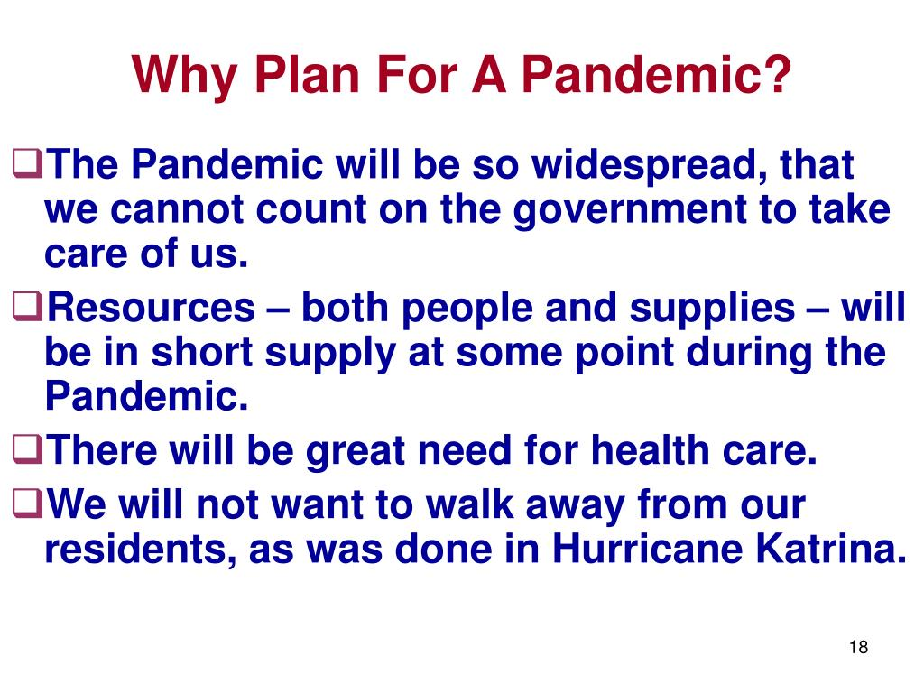 Why Plan For A Pandemic?