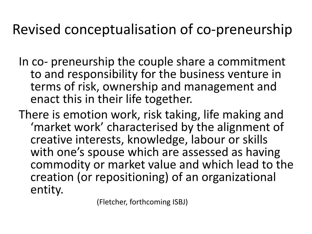 Revised conceptualisation of co-preneurship