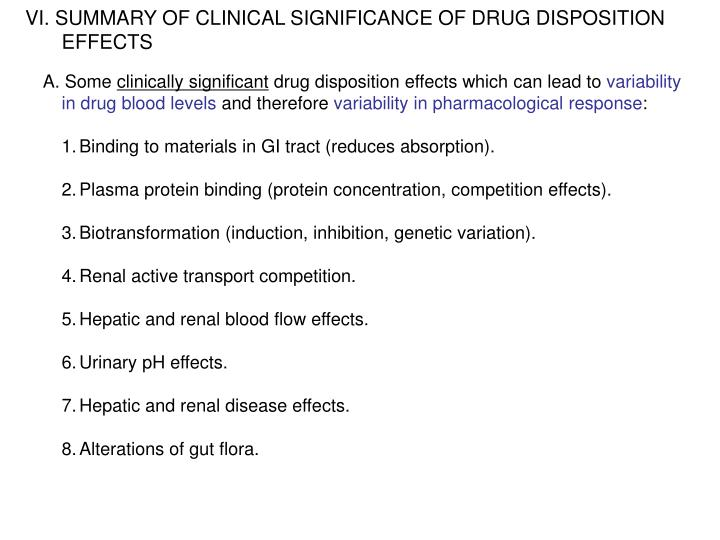 SUMMARY OF CLINICAL SIGNIFICANCE OF DRUG DISPOSITION EFFECTS