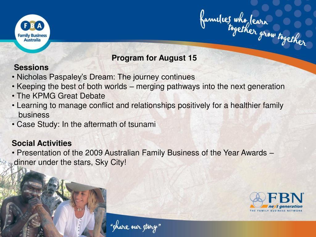 Program for August 15