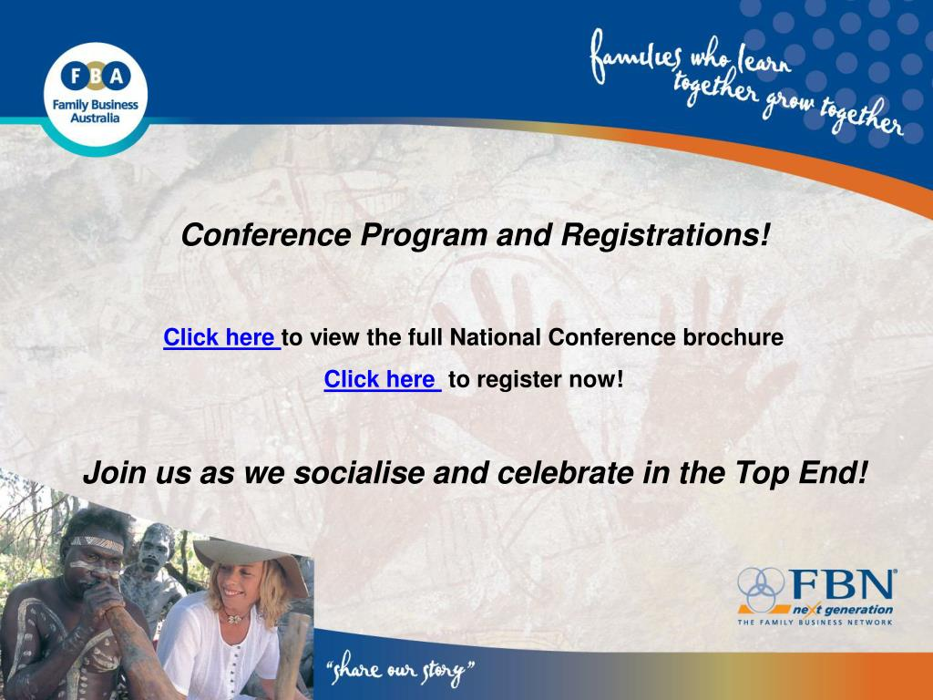 Conference Program and Registrations!