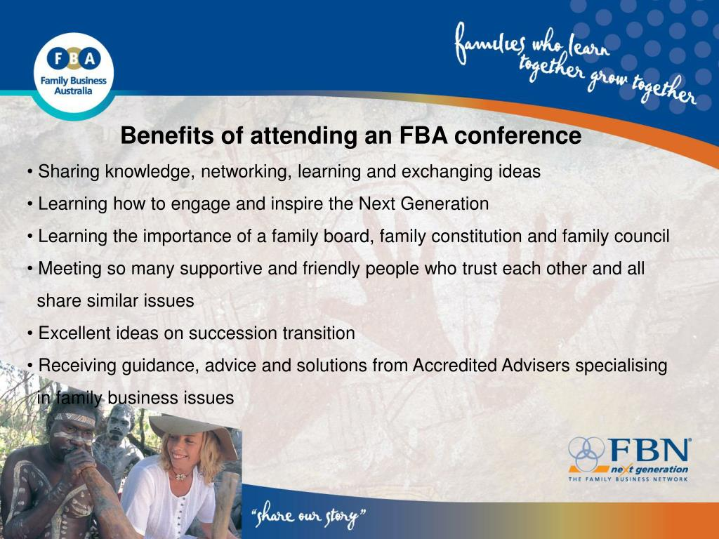 Benefits of attending an FBA conference