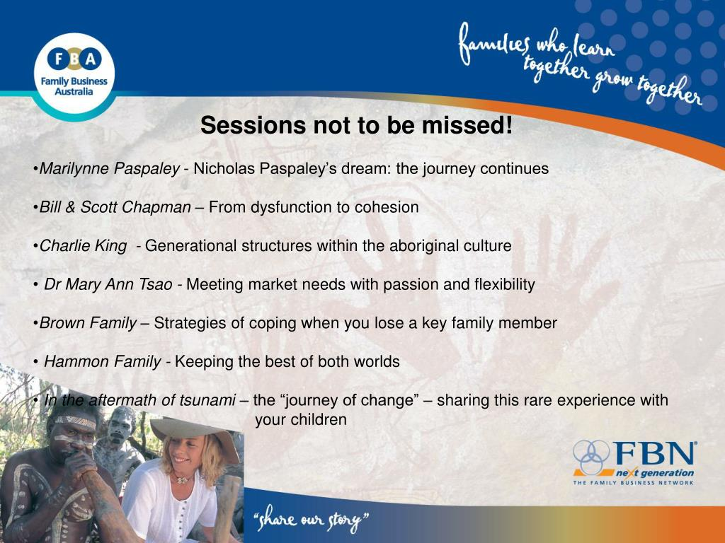 Sessions not to be missed!