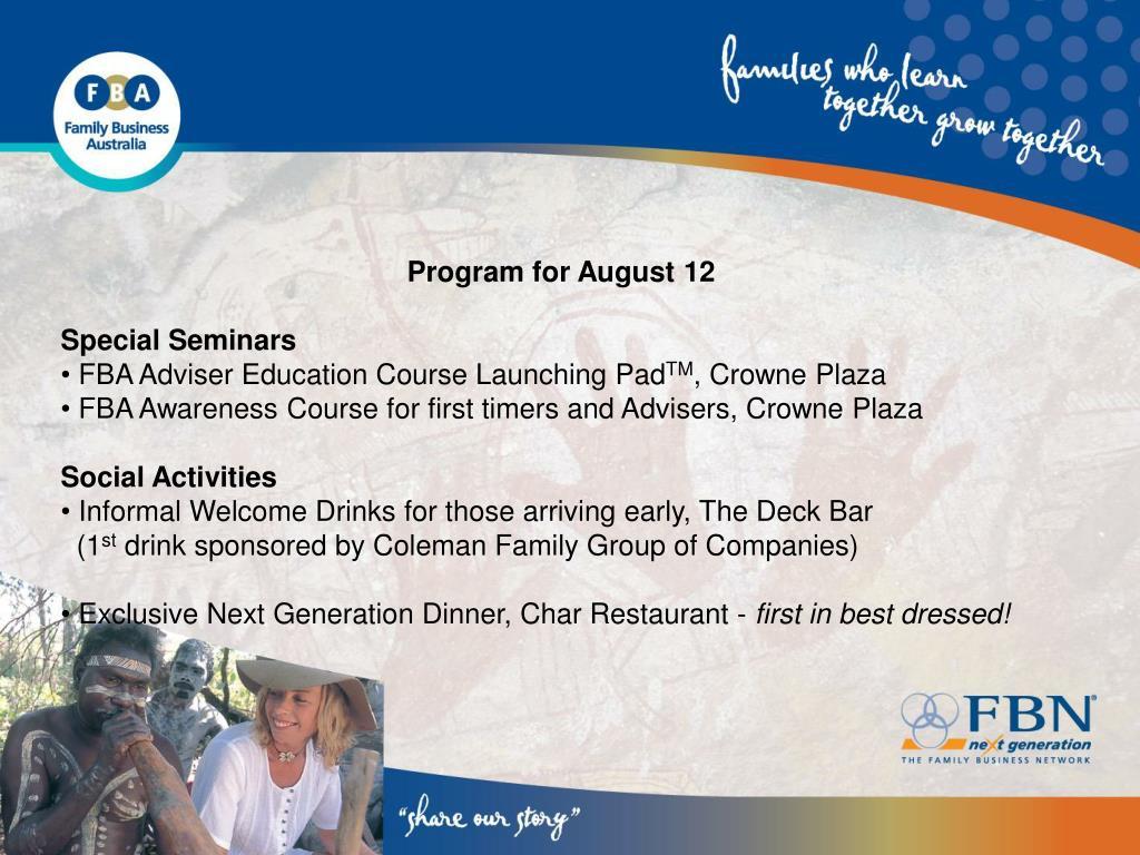Program for August 12