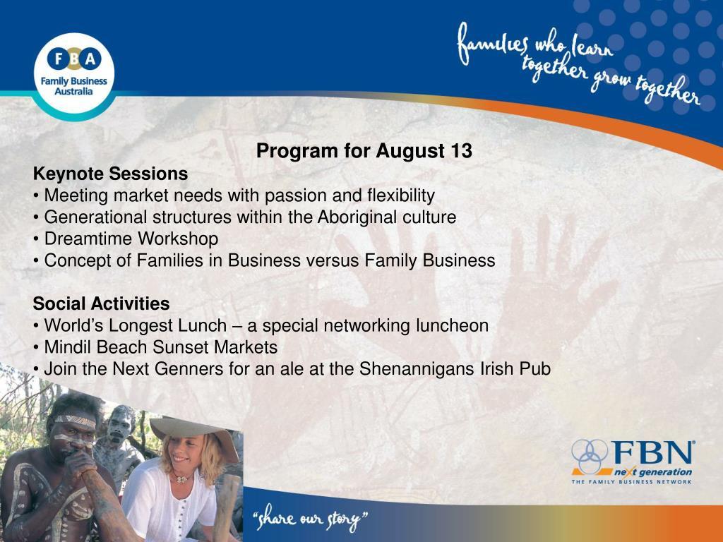 Program for August 13
