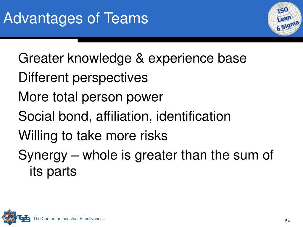 Advantages of Teams