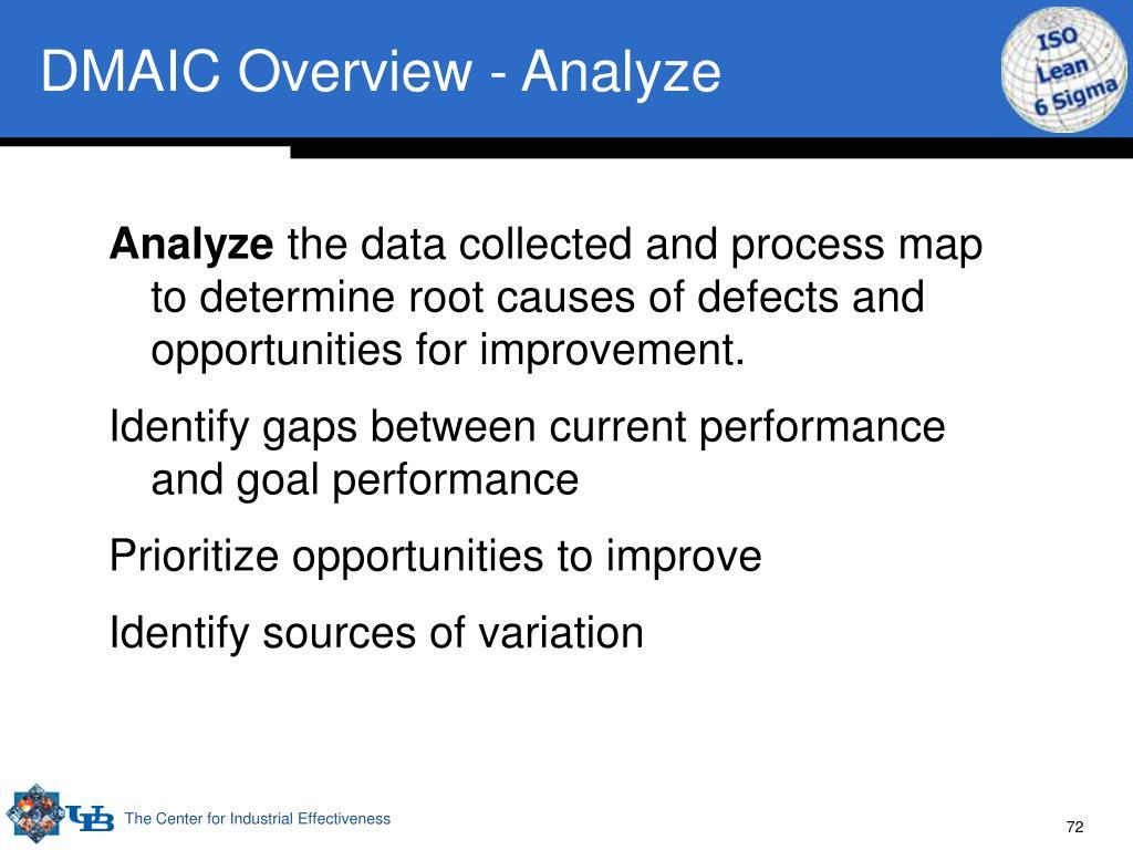 DMAIC Overview - Analyze