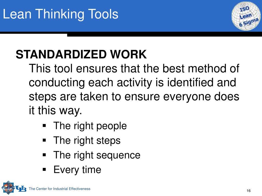 Lean Thinking Tools