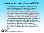 comparing the results co ops and esops