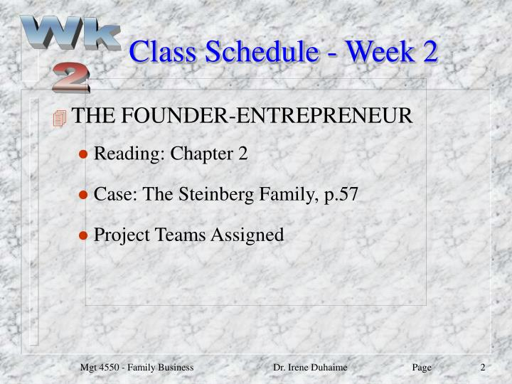 Class schedule week 2
