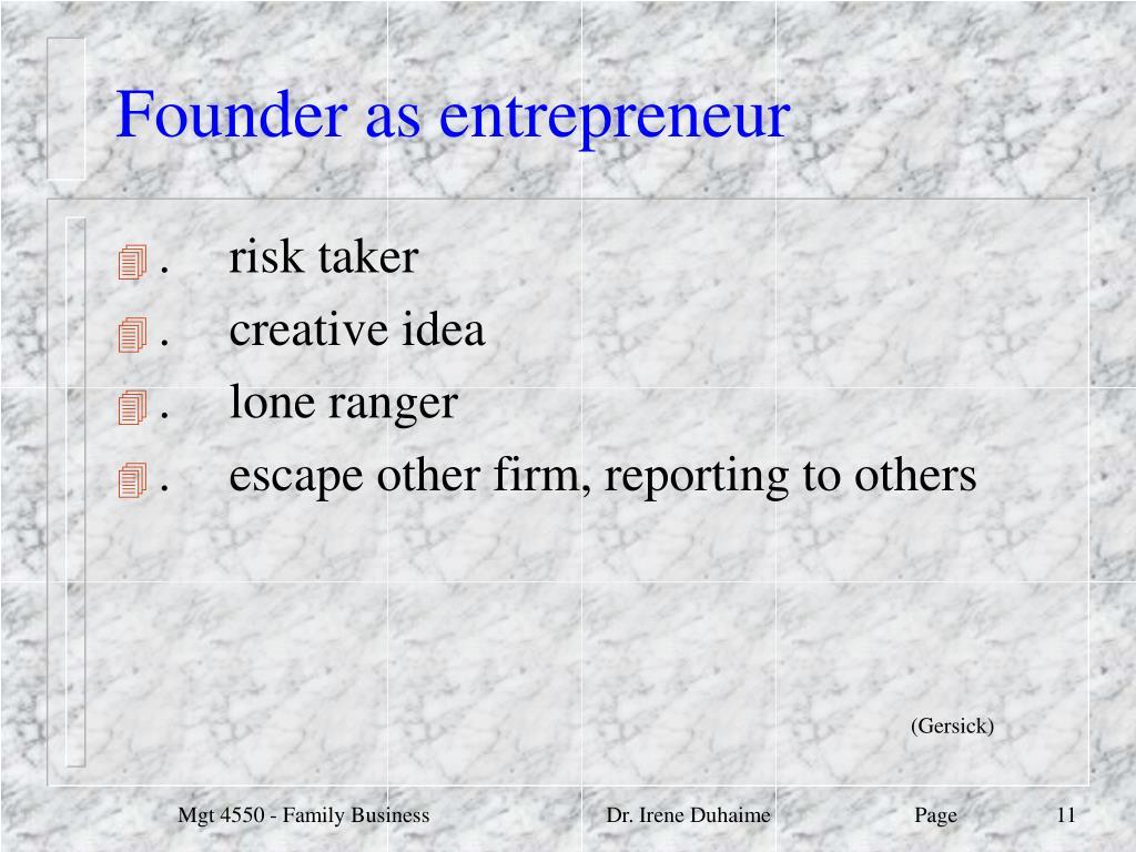Founder as entrepreneur