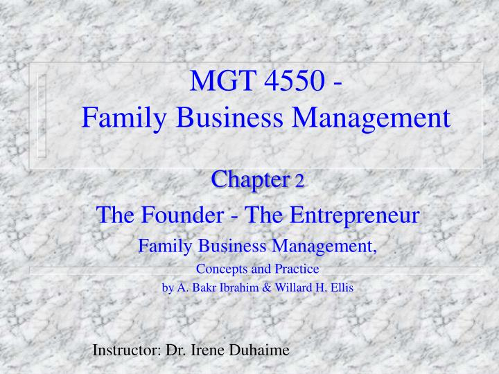 Mgt 4550 family business management