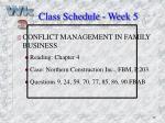 class schedule week 5