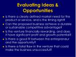 evaluating ideas opportunities