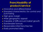 franchisability of product service